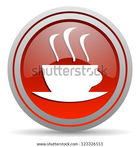 coffee red glossy icon on white background
