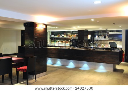 coffee restaurant indoor with luxury wooden furniture