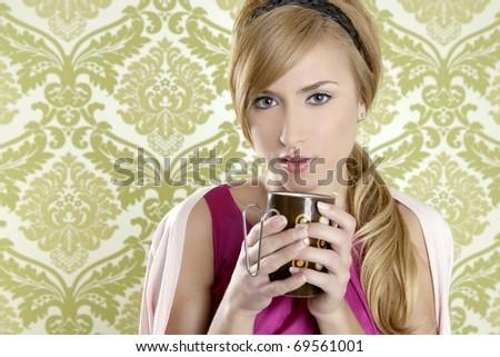 coffee retro woman vintage cup portrait green wallpaper