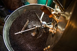Coffee roasters machine in coffee process beverage  industry and agriculture background