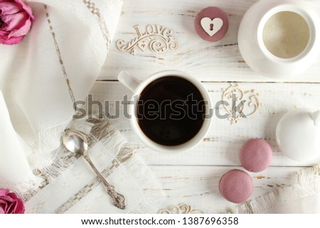 Coffee romantic drink on a romantic background #1387696358