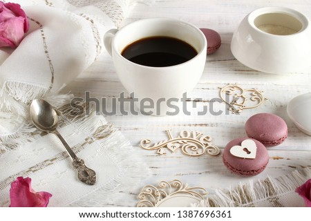 Coffee romantic drink on a romantic background