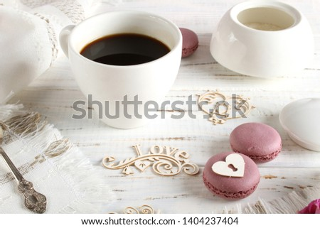Coffee romantic drink on a romantic background #1404237404