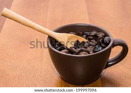 Coffee seeds in cup