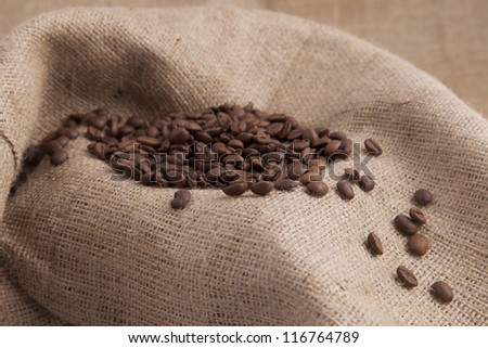 Coffee seeds on an old bag