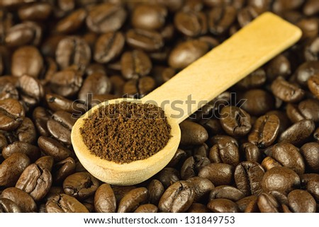 Coffee seeds on cloth sack background