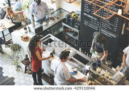 Coffee Shop Bar Counter Cafe Restaurant Relaxation Concept #429510046
