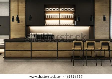 Coffee Shop cafe Loft & Modern - 3D render