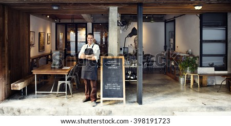 Coffee Shop Cafe Owner Service Concept
