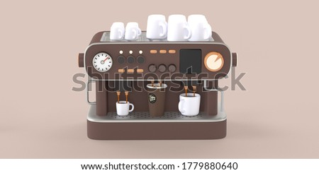 Coffee shop 3D render - coffee machine -modern concept digital illustration of a coffee maker with cups on the top, producing espresso filling in three cups. Creative landing web page header Photo stock ©
