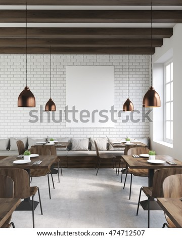 Coffee shop interior with wooden tables and chairs, vertical poster and ceiling lamps. Concept of hipster lifestyle. 3d rendering. Mock up.