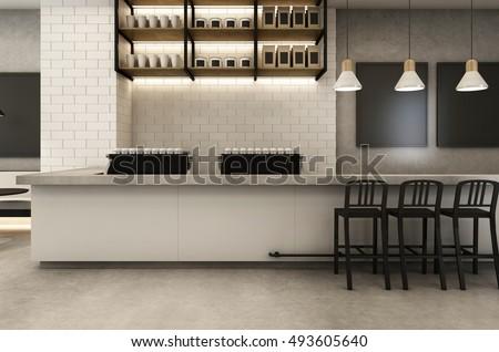 Coffee Shop Loft & Modern - 3D render