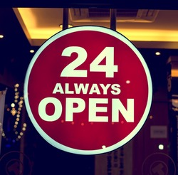 coffee shop sign 24 always open