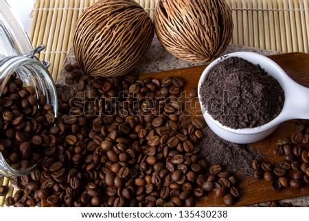 Coffee skin scrub for spa.