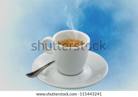 Coffee smoking on the blue sky background