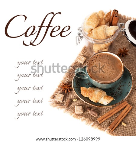 Coffee, spices and croissants - stock photo
