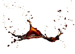 Coffee splash with drops