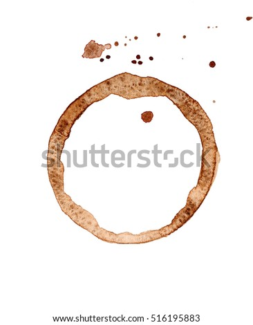Coffee stain on white background, closeup #516195883