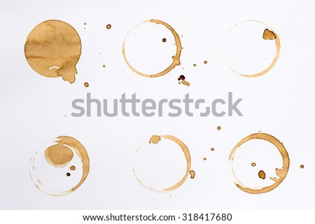 Coffee Stain Rings Set Isolated On White Background For Grunge Design5 318417680