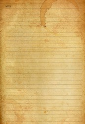 Coffee stained on old notes paper background