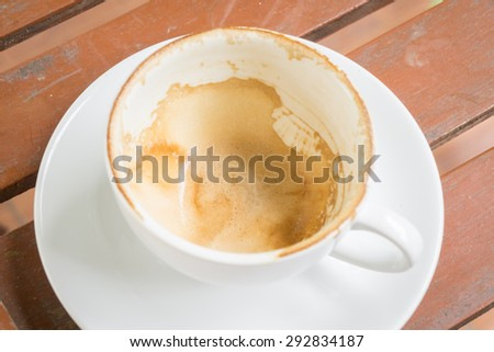Coffee stains on a  cup of coffee   in a white cup on wooden background