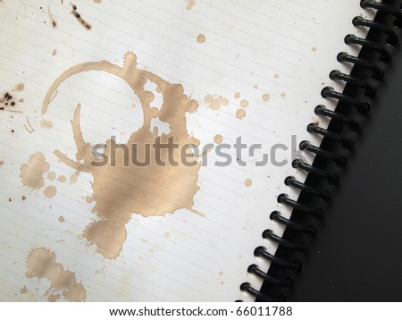 Coffee stains on blank white note book