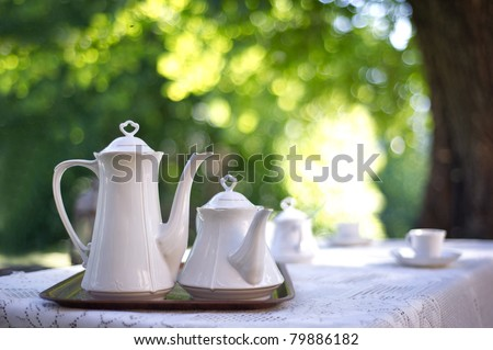 Coffee table in a garden
