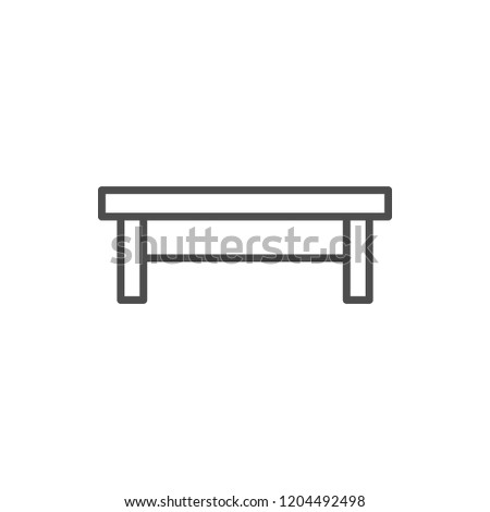 Coffee table line icon isolated on white