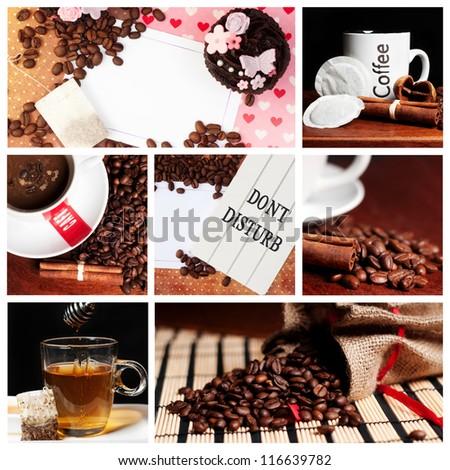 coffee tea cupcake collage