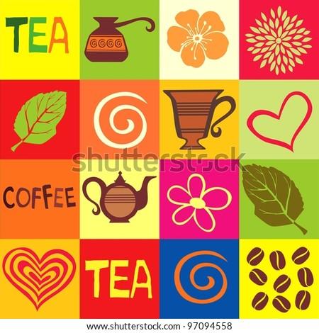 Coffee & Tea Seamless Repeat Pattern.  Illustration
