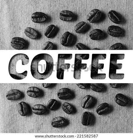 Coffee text banner with coffee crop beans on fabric texture