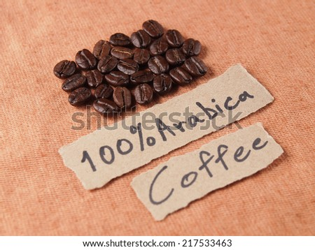 Coffee text paper with Coffee crop beans on fabric texture  background