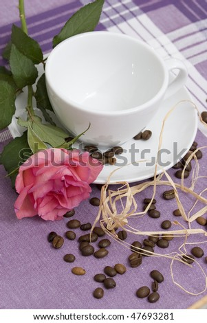 Coffee theme. High resolution image with coffee and flower.