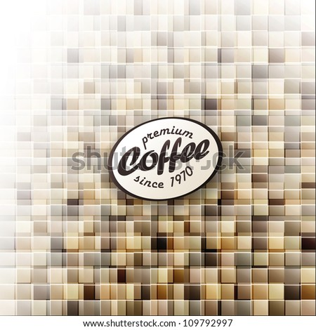 Coffee themed abstract design template. Raster version, vector file available in portfolio.