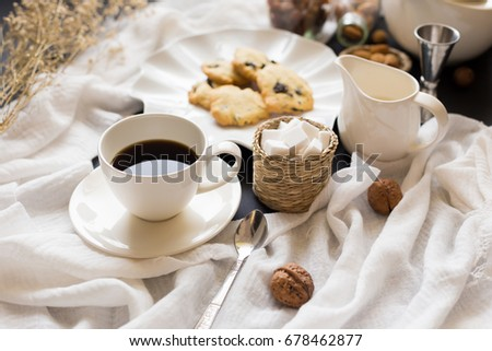Coffee Time Break Cafe and Chocolate chip cookies Leisure Relaxation. #678462877
