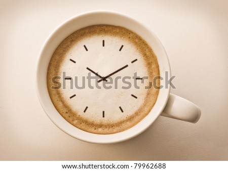 coffee time , watch drawing on latte art coffee cup #79962688