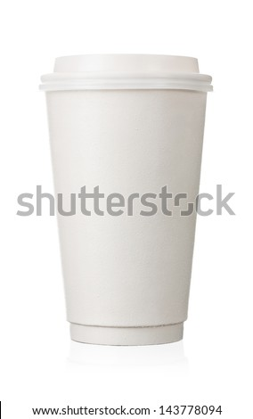 Coffee to go, close up of blank paper cup isolated on white background #143778094