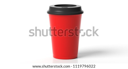 Coffee to go concept. Coffee cup red with a black lid isolated on a white background, 3d illustration.