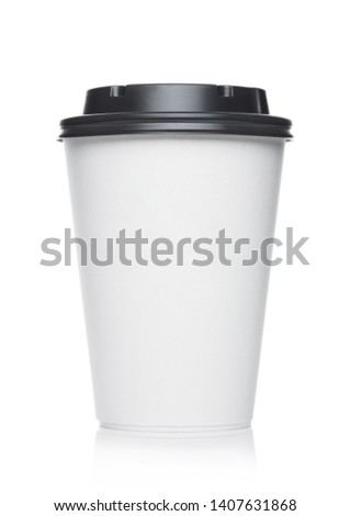 Coffee to go in a disposable cup with grey plastic lid on a white  #1407631868