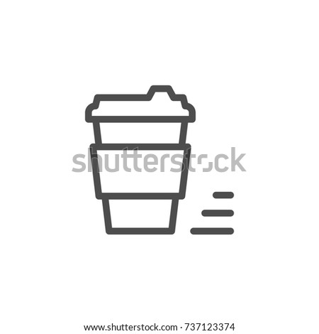 Coffee to go line icon isolated on white