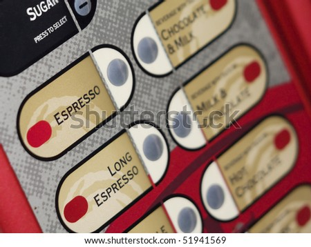 Coffee vending machine keypad with coffee names