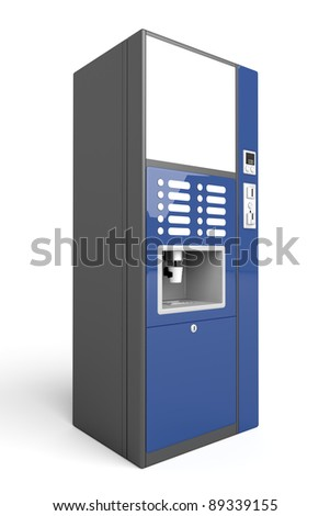 Coffee vending machine on white background