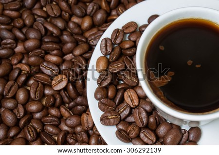 Coffee  wallpaper, background, grains of coffee plant and black coffee drink in white coffee set. Coffee time texture