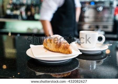 coffee with croissant ストックフォト ©