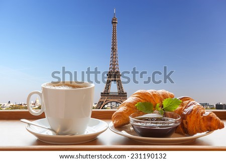 Coffee with croissants against Eiffel Tower in Paris France