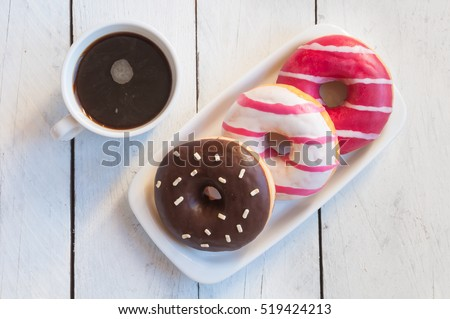Coffee with donuts for breakfast