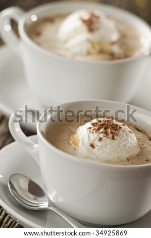 Coffee with ice cream close up shoot