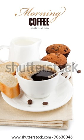 coffee with milk and cake isolated on white background