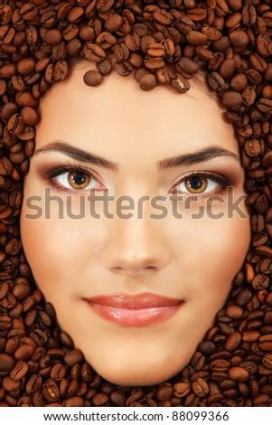coffee woman beauty face beautiful make-up