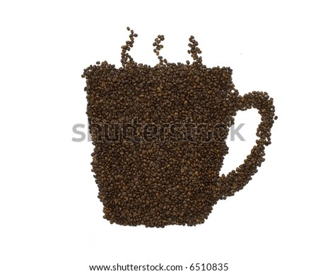 coffeemania,coffee beans make a coffee cup